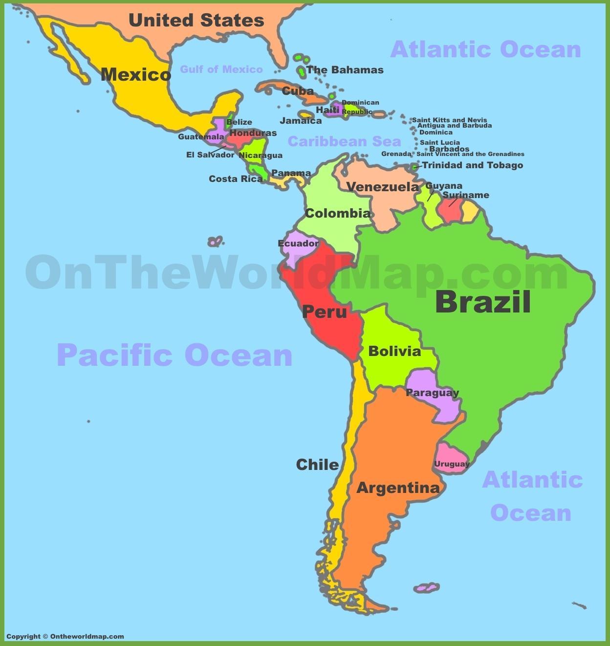 sør amerika kart Kart over sør amerika og Mexico   Mexico og sør amerika kart