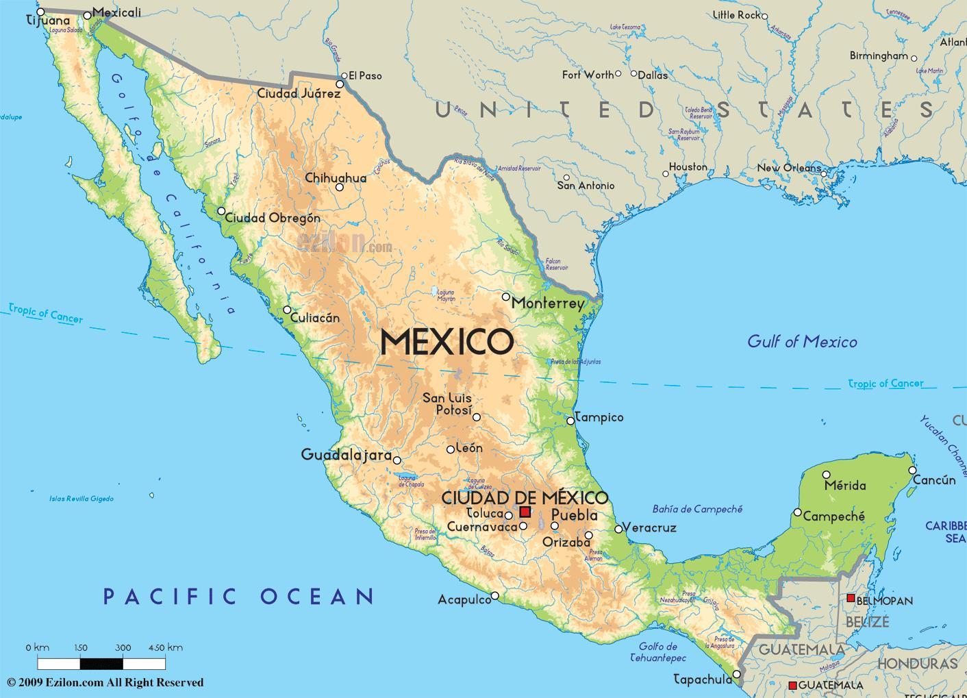 kart over mexico Kart over amerika og Mexico   Kartet av Mexico og usa (Sentral  kart over mexico