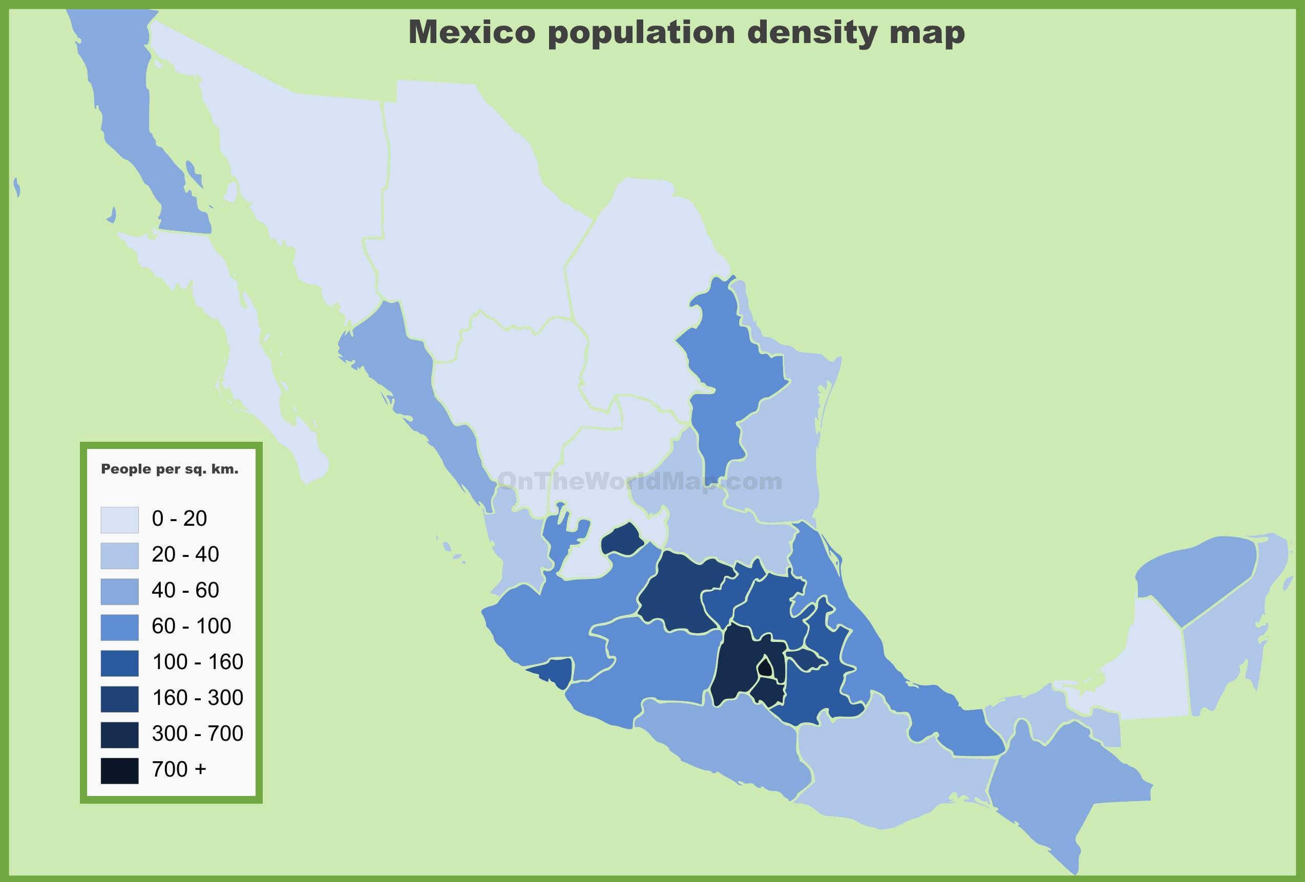 kart mexico Mexico befolkningstetthet kart   befolkningstetthet kart Mexico  kart mexico
