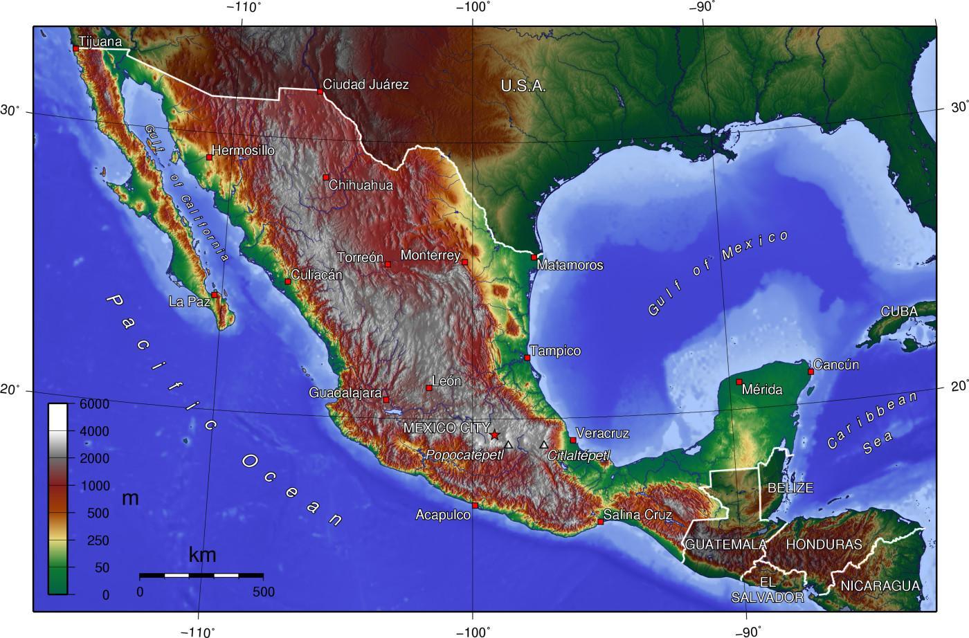 høyde kart Mexico høyde kart   Kart over Mexico høyde (Sentral Amerika   Amerika) høyde kart