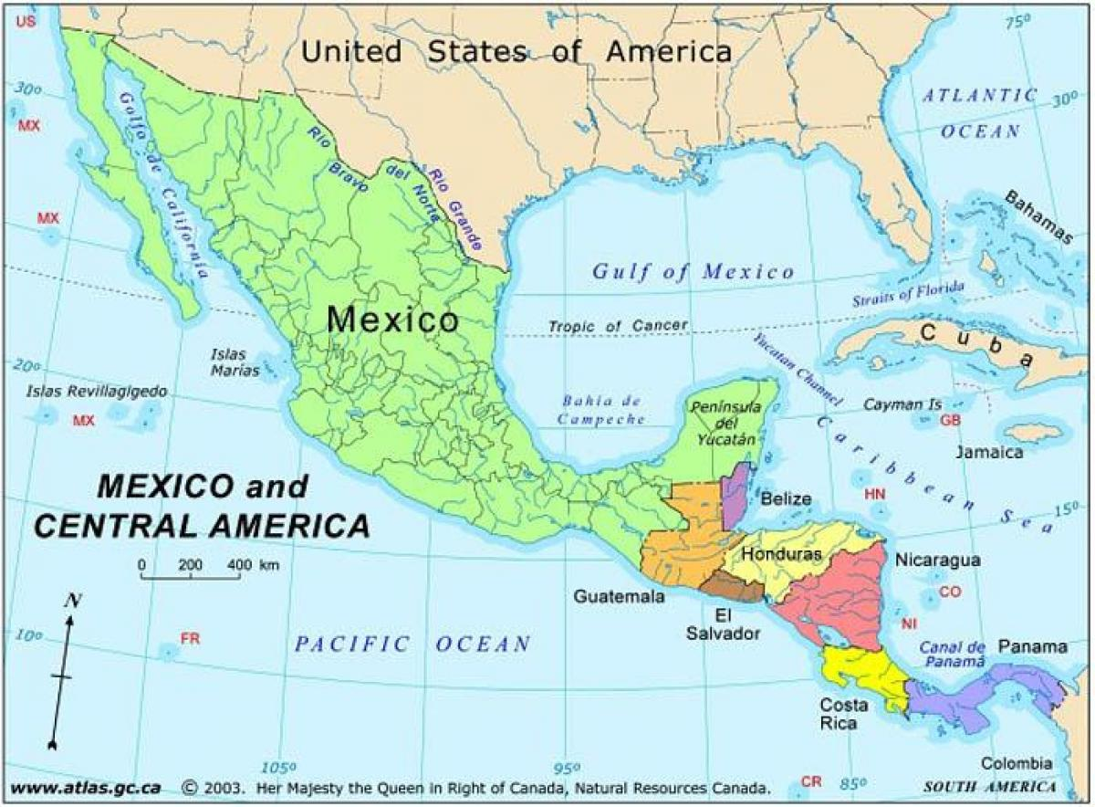 kart mellom amerika Kartet av Mexico og mellom amerika   Kart Mexico og sentral  kart mellom amerika